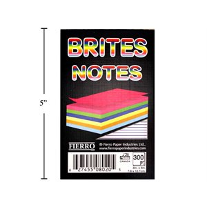 Calepin de notes 300fls 3x5 coul. bright 20294